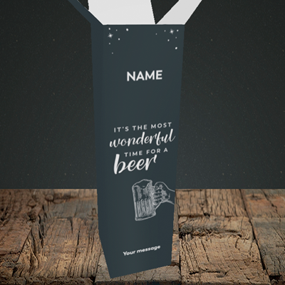 Picture of Time for a Beer, (Without Photo) Christmas Design, Upright Bottle Box
