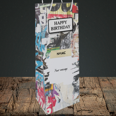 Picture of Graffiti, (Without Photo) Birthday Design, Bottle Bag