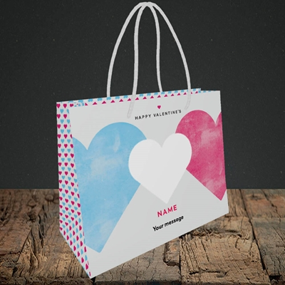 Picture of Joined Hearts (textured)(Without Photo), Valentine's Design, Small Landscape Gift Bag