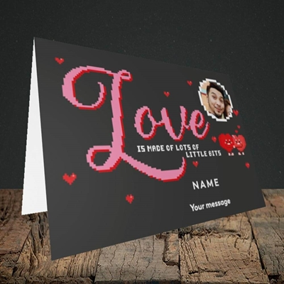 Picture of Love Bits, Valentine's Design, Landscape Greetings Card