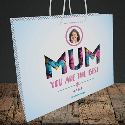 Picture of Mum You Are The Best (flower cut out), Medium Landscape Gift Bag