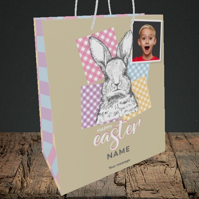 Picture of Patchwork Rabbit, Easter Design, Medium Portrait Gift Bag