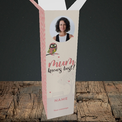 Picture of Mum Knows Best, Mother's Day Design, Upright Bottle Box