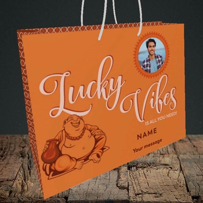 Picture of Lucky Vibes, Good Luck Design, Medium Landscape Gift Bag