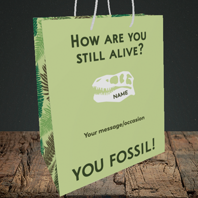 Picture of Fossil, (Without Photo) Birthday Design, Medium Portrait Gift Bag