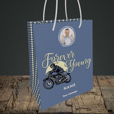Picture of Forever Young (Motorbike), Birthday Design, Small portrait Gift Bag
