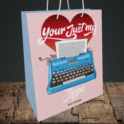 Picture of Just My Type(Without Photo), Valentine's Design, Medium Portrait Gift Bag