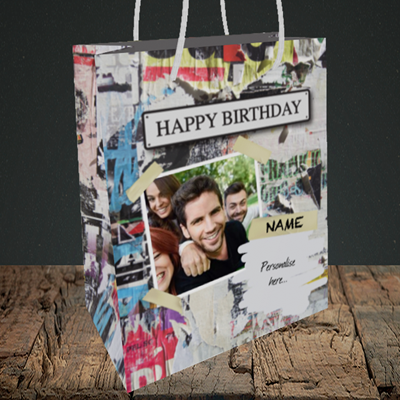 Picture of Graffiti, Birthday Design, Medium Portrait Gift Bag