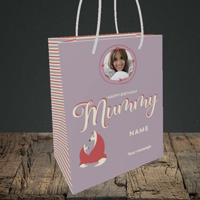 Picture of Foxes Mummy, Birthday Design, Small portrait Gift Bag