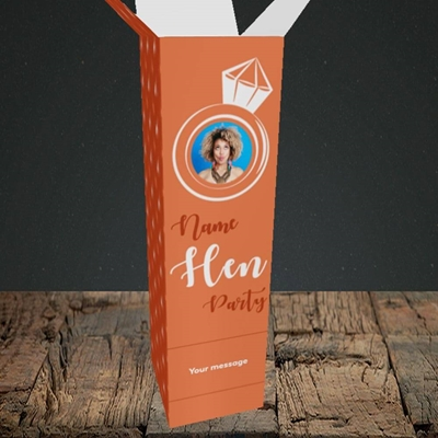 Picture of Hen Party Orange, Wedding Design, Upright Bottle Box