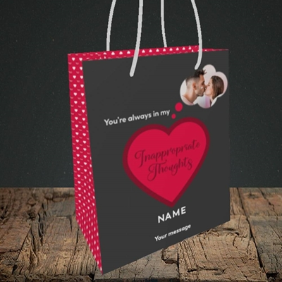Picture of Inappropriate Thoughts, Valentine's Design, Small Portrait Gift Bag