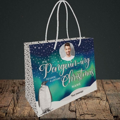 Picture of It's Penguin-ing, Christmas Design, Small Landscape Gift Bag