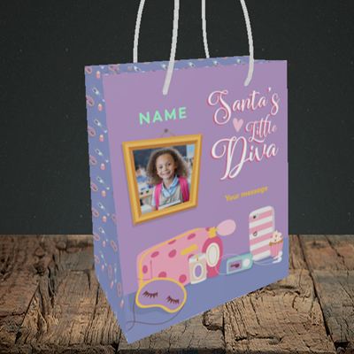 Picture of Little Diva, Christmas Design, Small Portrait Gift Bag