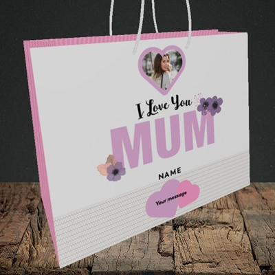 Picture of I Love You Mum, Mother's Day Design, Medium Landscape Gift Bag