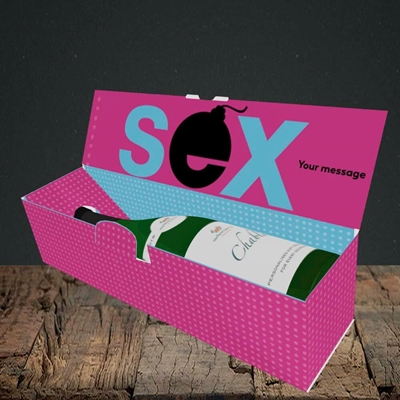 Picture of Sex Bomb - Pink(Without Photo), Valentine's Design, Lay-down Bottle Box