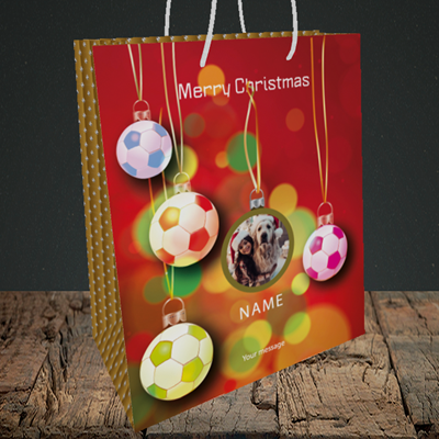 Picture of Christmas Baubles, Christmas Design, Medium Portrait Gift Bag