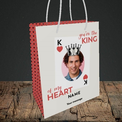 Picture of King Of My Heart, Valentine's Design, Small Portrait Gift Bag