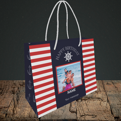 Picture of Nautical, Birthday Design, Small Landscape Gift Bag