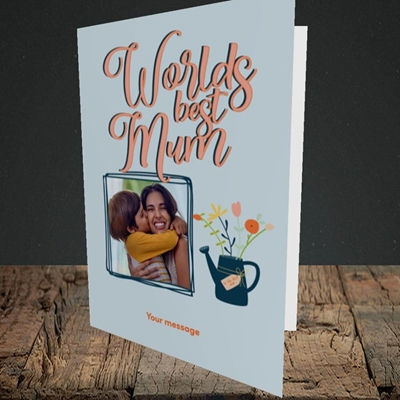 Picture of Worlds Best Mum, Mother's Day Design, Portrait Greetings Card