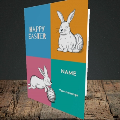 Picture of 4 Colour Bunnies(Without Photo), Easter Design, Portrait Greetings Card