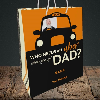 Picture of Uber Dad, Father's Day Design, Medium Portrait Gift Bag