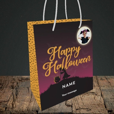 Picture of Witch On The Hill, Halloween Design, Small Portrait Gift Bag