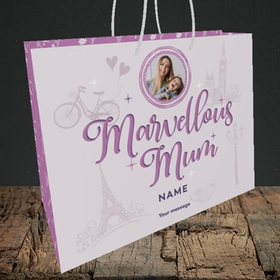 Picture of Marvellous Mum, Mother's Day Design, Medium Landscape Gift Bag