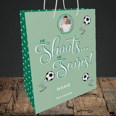 Picture of He Shoots He Scores, Pregnancy Design, Medium Portrait Gift Bag