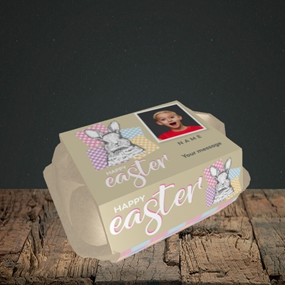 Picture of Patchwork Rabbit, Easter Design, 6 Egg Box