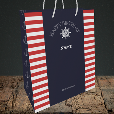 Picture of Nautical, (Without Photo) Birthday Design, Medium Portrait Gift Bag
