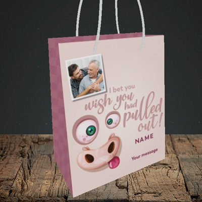 Picture of Pulled Out!, Father's Day Design, Small Portrait Gift Bag