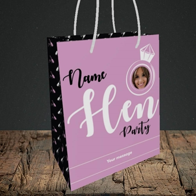 Picture of Hen Party Purple, Wedding Design, Small Portrait Gift Bag