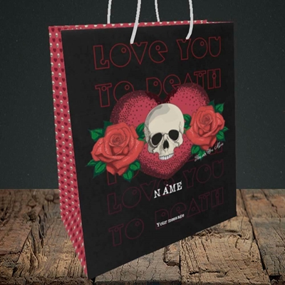 Picture of Love You To Death(Without Photo), Valentine's Design, Medium Portrait Gift Bag
