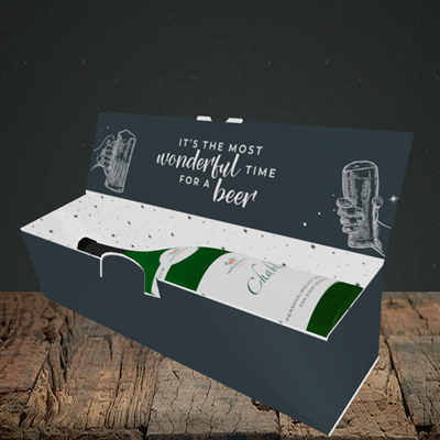 Picture of Time for a Beer, (Without Photo) Christmas Design, Lay-down Bottle Box