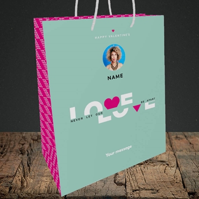 Picture of Never Let Our Love Be Apart, Valentine's Design, Small Portrait Gift Bag