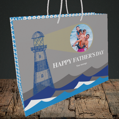 Picture of Lighthouse, Father's Day Design, Medium Landscape Gift Bag