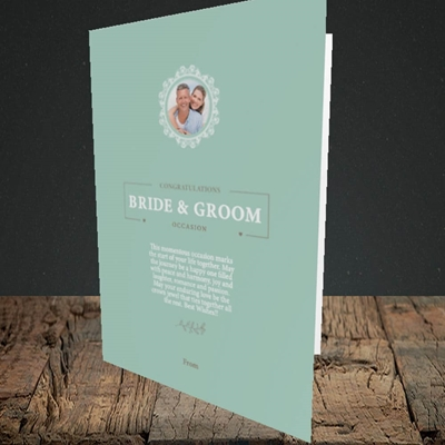 Picture of Traditional Foliage Teal B&G, Wedding Design, Portrait Greetings Card