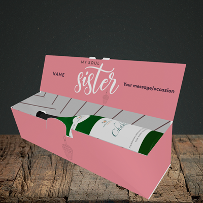 Picture of Soul Sister, (Without Photo) Birthday Design, Lay-down Bottle Box