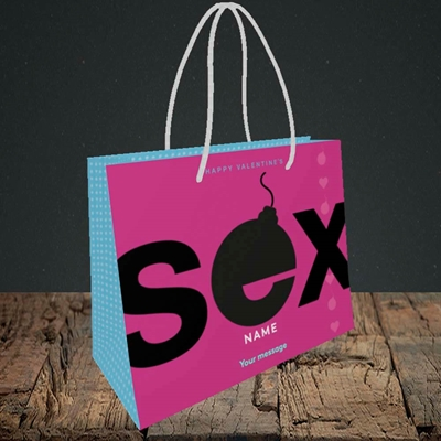 Picture of Sex Bomb - Pink(Without Photo), Valentine's Design, Small Landscape Gift Bag