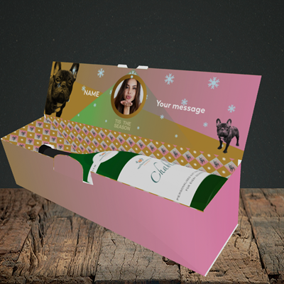 Picture of Tis The Frenchie, Christmas Design, Lay-down Bottle Box