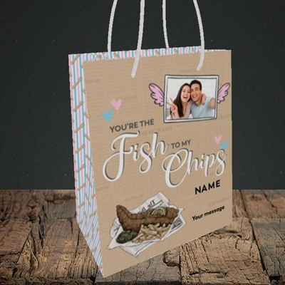 Picture of Fish To My Chips, Valentine's Design, Small Portrait Gift Bag