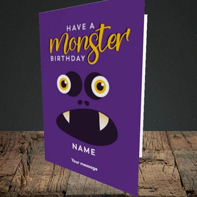 Picture of Monster Face(Without Photo), Birthday Design, Portrait Greetings Card