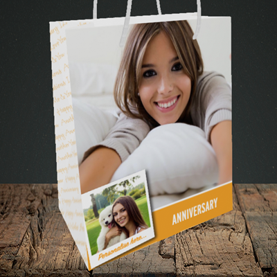 Picture of Photo, Anniversary Design, Medium Portrait Gift Bag