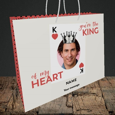 Picture of King Of My Heart, Valentine's Design, Medium Landscape Gift Bag