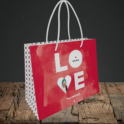 Picture of Love Type (stacked), Valentine's Design, Small Landscape Gift Bag