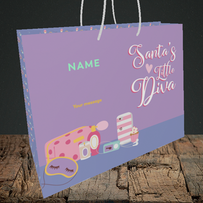 Picture of Little Diva, (Without Photo) Christmas Design, Medium Landscape Gift Bag
