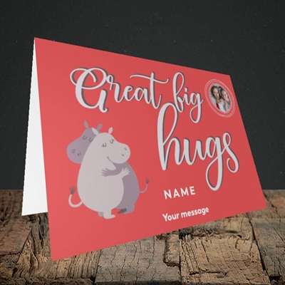 Picture of Big Hugs, Thinking of You Design, Landscape Greetings Card