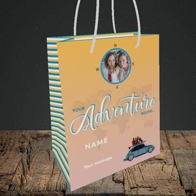 Picture of Adventure Begins, Leaving Design, Small Portrait Gift Bag