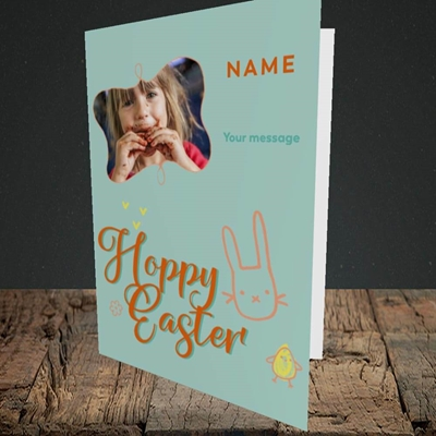 Picture of Hoppy Easter, Easter Design, Portrait Greetings Card
