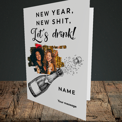 Picture of Let's Drink, New Year Design, Portrait Greetings Card